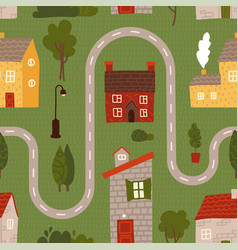 seamless pattern - cartoon road with house tree vector image