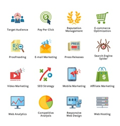 SEO and Internet Marketing Flat Icons - Set 3 vector image