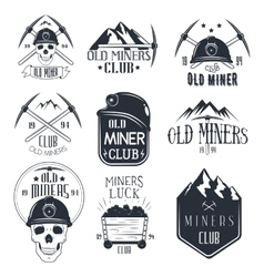 set mining labels in vintage style gold vector image