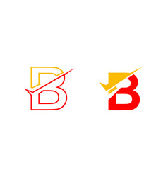 Set of letter b logo with checklist shape vector