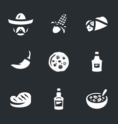 set of mexican food icons vector image