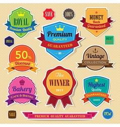 set retro vintage sticker badges and labels eps vector image