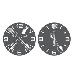 set two patterns with clock spoon and fork vector image
