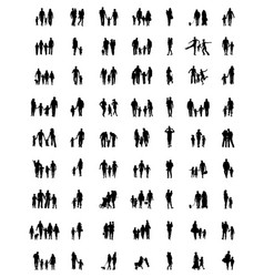 silhouettes families in walking vector image