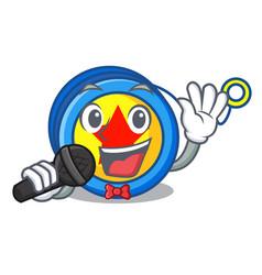 Singing yoyo mascot cartoon style vector