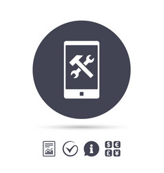 Smartphone repair sign icon service symbol vector