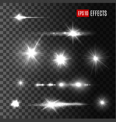 Stars shine light isolated icons vector