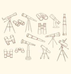 telescope hand drawn retro gadgets for explorer vector image