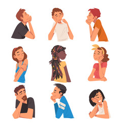 thoughtful relaxed people set male and female vector image