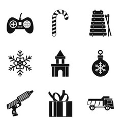 Toy car icons set simple style vector