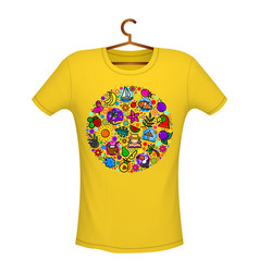 tropical summer print on t-shirt yellow color vector image