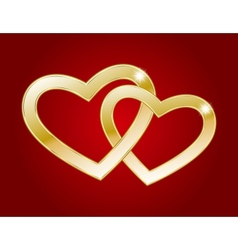 Two gold hearts vector