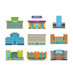 Urban buildings facades architectural structures vector