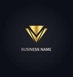 v triangle sign logo vector image