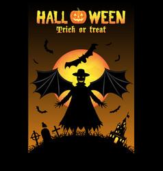vampire with halloween background vector image