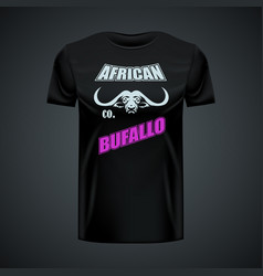 vintage t-shirt with stylish buffalo logo in vector image
