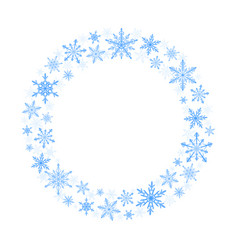 winter wreath of blue snowflakes on white vector image