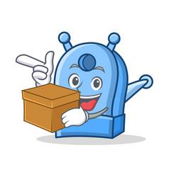 With box pencil sharpener character cartoon vector