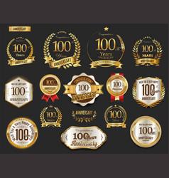 anniversary golden laurel wreath and badges 100 vector image
