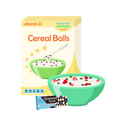 breakfast set - milk cereal granola berries vector image