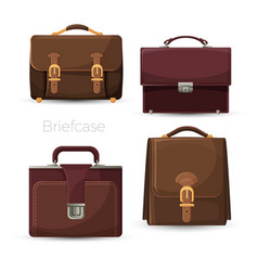 brown leather cases for documents and papers vector image