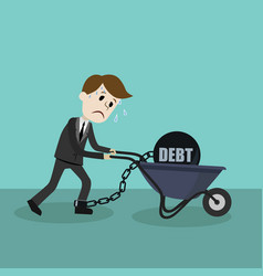 business man pulling his debt vector image