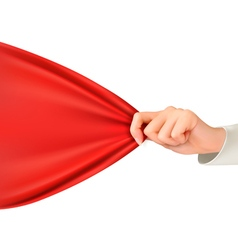 Hand tugging a red cloth with space for text vector image vector image