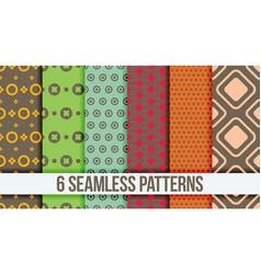 Six seamless geometric patterns vector