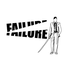 businessman cutting the word FAILURE vector image