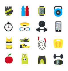 cartoon fitness sport tools icons set vector image