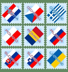 Flags on stamps vector image vector image