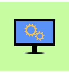 Flat style computer with gear wheels vector image