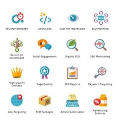 Seo and internet marketing flat icons - set 4 vector