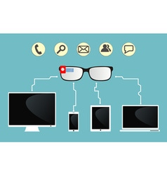 smart glasses are connected to devices vector image vector image