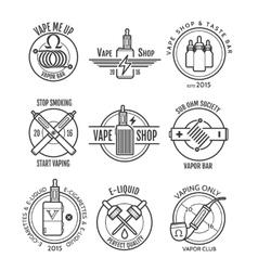 Vape shop labels and vapor bar logo vector image