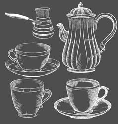 vintage tea and coffee set hand drawn vector image vector image