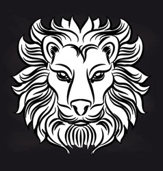 white lion head on blackboard vector image