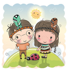 cute cartoon tribal girl and boy with feather vector image vector image