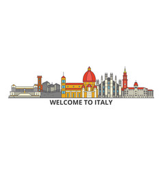 italy outline skyline italian flat thin line vector image