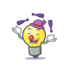 Juggling light bulb character cartoon vector