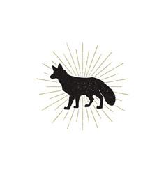 hand drawn fox silhouette vintage vector image vector image