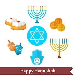 Happy Hanukkah flat icons set with dreidel game vector image