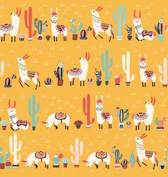 happy lama seamless pattern vector image