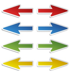 left and right arrow stickers vector image vector image