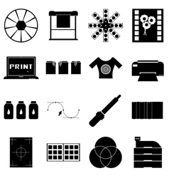 Print items icons set simple style vector image