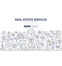 Real estate services doodle concept vector