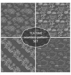 Set Tea Time seamless pattern of the doodle vector image