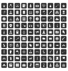 100 crime investigation icons set black vector