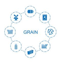 8 grain icons vector