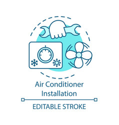 Air conditioner installation concept icon home vector